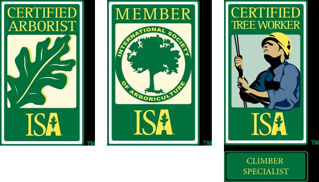 ISA Certified Arborist, ISA Member, & ISA Certified Tree Worker Climber logos